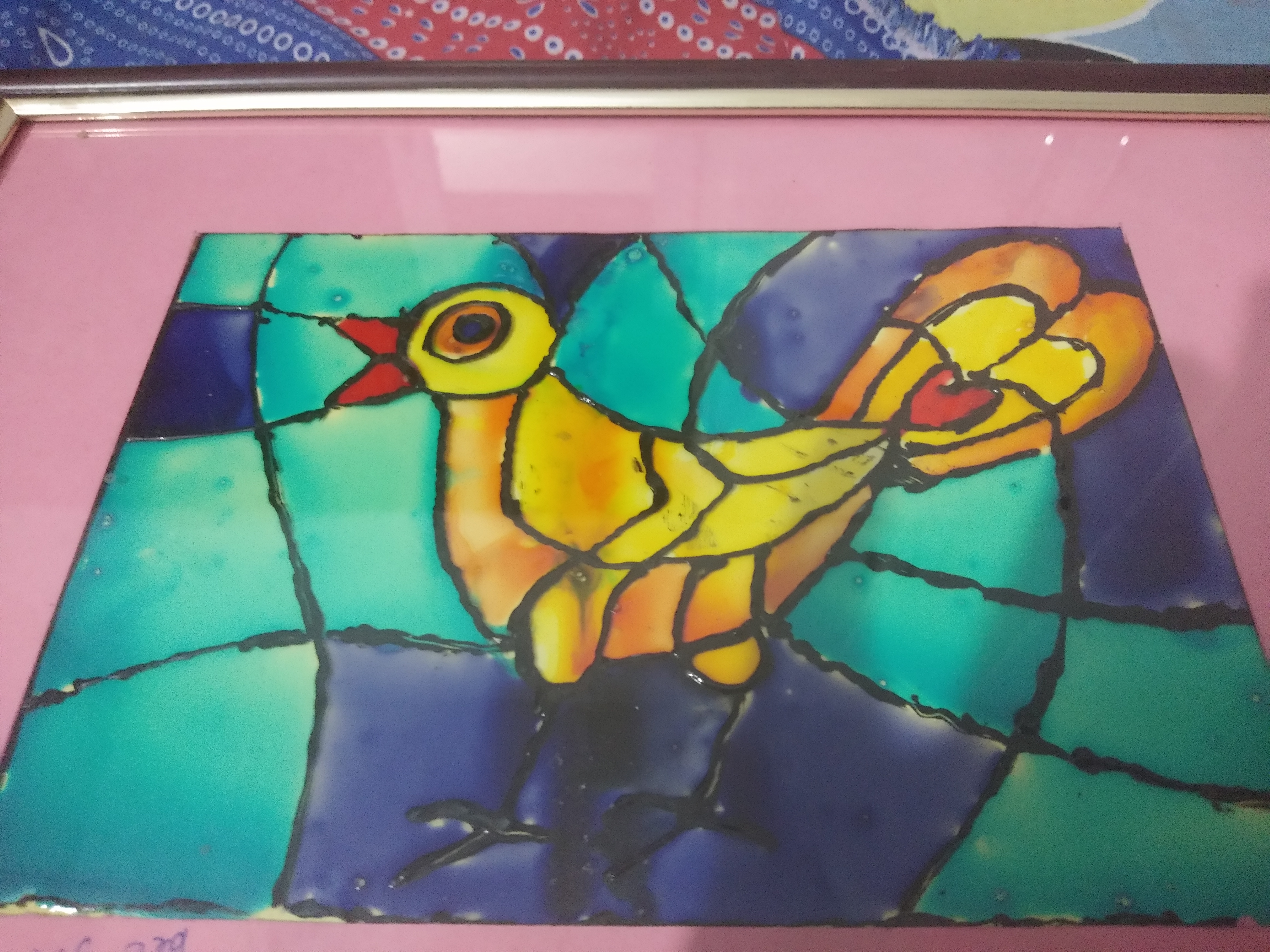 Glass Painting Of Bird